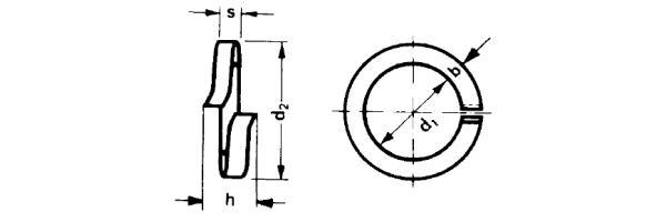 DIN  127 A - Federring aufgebogen