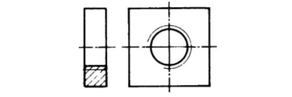 DIN  562 Vierkantmutter niedrig
