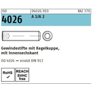 ISO 4026  rostfrei A 1/A 2